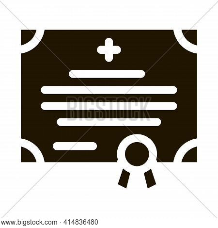Medical Certificate Of Nurse Degree Glyph Icon Vector. Medical Certificate Of Nurse Degree Sign. Iso