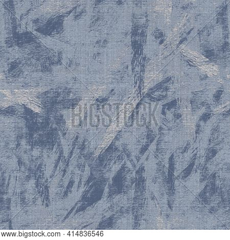 Seamless French Farmhouse Linen Mottled Print Background. Provence Blue Gray Linen Rustic Pattern Te