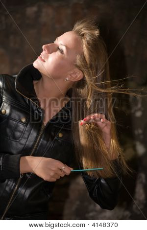 Beautiful Girl Combs Long Hairs