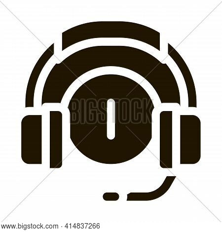 Distracted By Music Headphones Glyph Icon Vector. Distracted By Music Headphones Sign. Isolated Symb