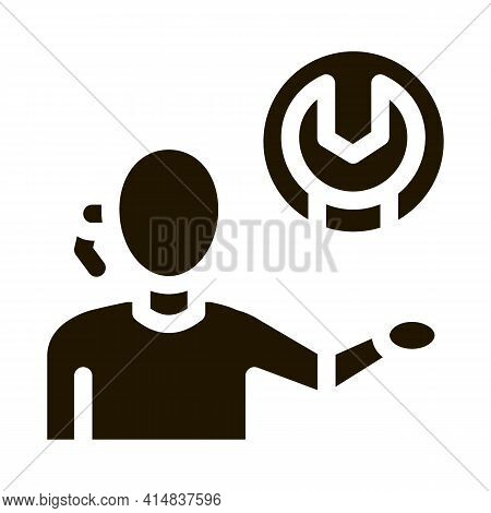 Contact Help Setting Problems Glyph Icon Vector. Contact Help Setting Problems Sign. Isolated Symbol