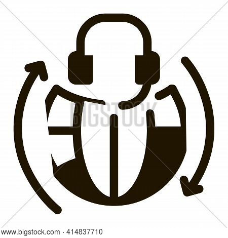 Global Help Desk Hotline Glyph Icon Vector. Global Help Desk Hotline Sign. Isolated Symbol Illustrat