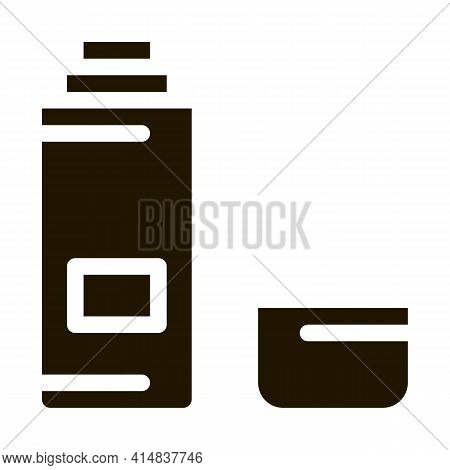 Thermos With Liquid Glyph Icon Vector. Thermos With Liquid Sign. Isolated Symbol Illustration