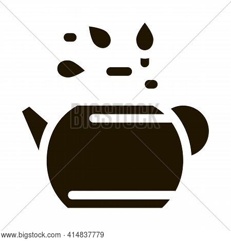 Teapot With Tea Leaves Glyph Icon Vector. Teapot With Tea Leaves Sign. Isolated Symbol Illustration