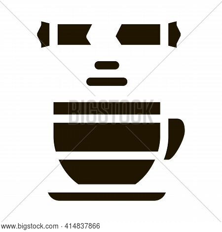 Sprinkle Sugar In Cup Of Tea Glyph Icon Vector. Sprinkle Sugar In Cup Of Tea Sign. Isolated Symbol I