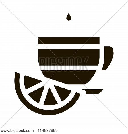 Cup Of Tea With Lemon Slice Glyph Icon Vector. Cup Of Tea With Lemon Slice Sign. Isolated Symbol Ill