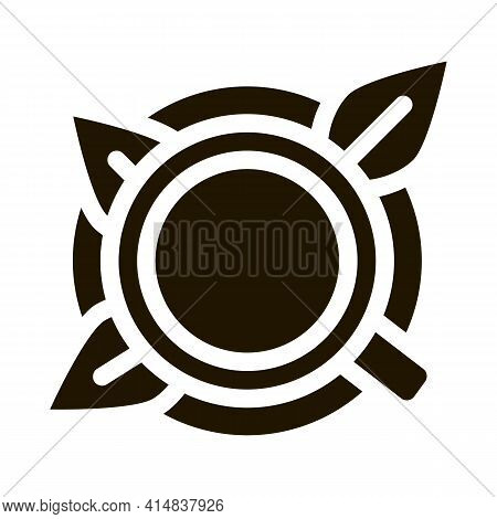 Cup Of Tea With Saucer Top View Glyph Icon Vector. Cup Of Tea With Saucer Top View Sign. Isolated Sy