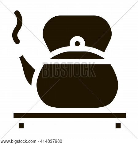 Hot Kettle On Stand Glyph Icon Vector. Hot Kettle On Stand Sign. Isolated Symbol Illustration