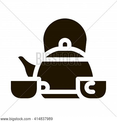 Kettle And Two Cups Glyph Icon Vector. Kettle And Two Cups Sign. Isolated Symbol Illustration