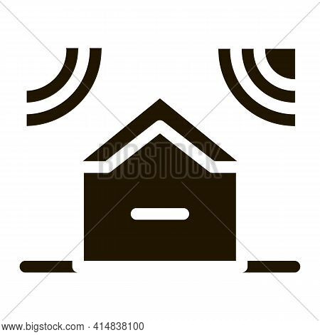 Sound Acting On Residential Building Glyph Icon Vector. Sound Acting On Residential Building Sign. I