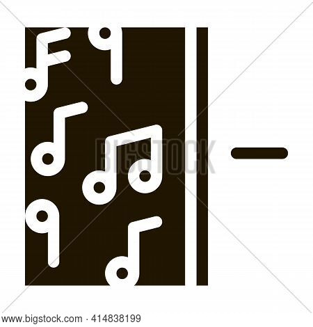 One Side Of Music Other Half Silence Glyph Icon Vector. One Side Of Music Other Half Silence Sign. I