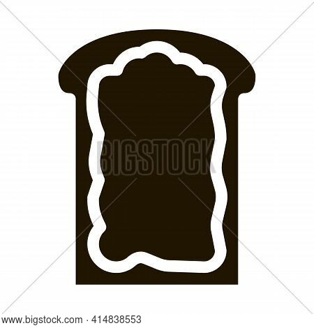 Toast With Mayonnaise Glyph Icon Vector. Toast With Mayonnaise Sign. Isolated Symbol Illustration