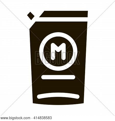 Pack Of Mayonnaise With Dispenser Glyph Icon Vector. Pack Of Mayonnaise With Dispenser Sign. Isolate
