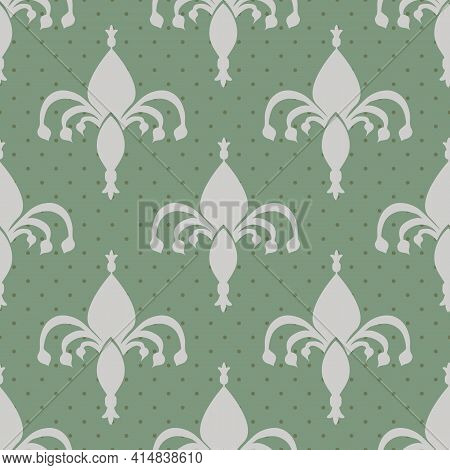 Fleur-de-lys Vector Seamless Pattern Background. Hand Drawn Silver Ornamental Shapes On Sage Green B