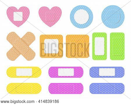 Realistic Detailed 3d Color Aid Band Plaster Medical Patch Set. Bundle Of Medical Dressings Of Vario