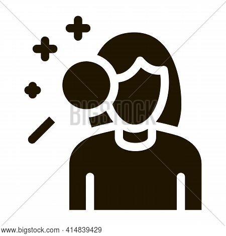 Dermatological Studies Of Women Glyph Icon Vector. Dermatological Studies Of Women Sign. Isolated Sy