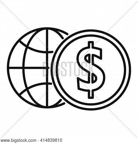 Global Money Broker Icon. Outline Global Money Broker Vector Icon For Web Design Isolated On White B