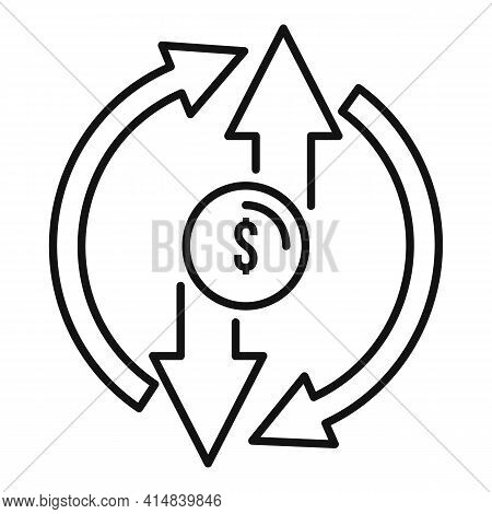 Broker Circle Money Icon. Outline Broker Circle Money Vector Icon For Web Design Isolated On White B