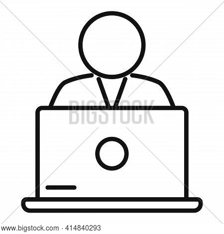 Broker Laptop Icon. Outline Broker Laptop Vector Icon For Web Design Isolated On White Background