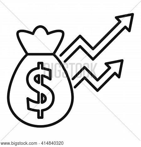 Broker Money Bag Icon. Outline Broker Money Bag Vector Icon For Web Design Isolated On White Backgro