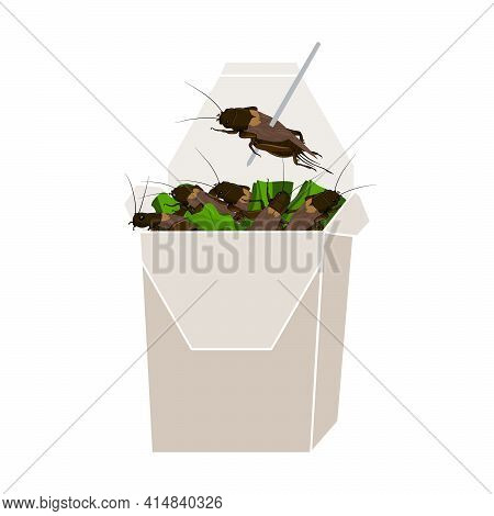 Crickets Insects For Eating As Food Deep-fried Crispy Snack And Skewer In Paper Box For Take Out Hom