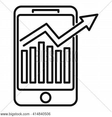 Broker Smartphone Icon. Outline Broker Smartphone Vector Icon For Web Design Isolated On White Backg