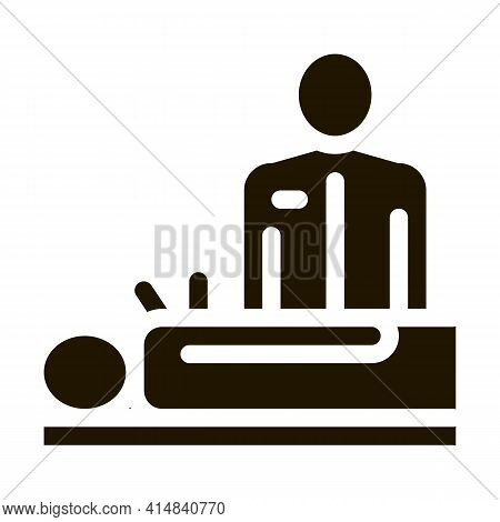 Human Acupuncture And Doctor Glyph Icon Vector. Human Acupuncture And Doctor Sign. Isolated Symbol I