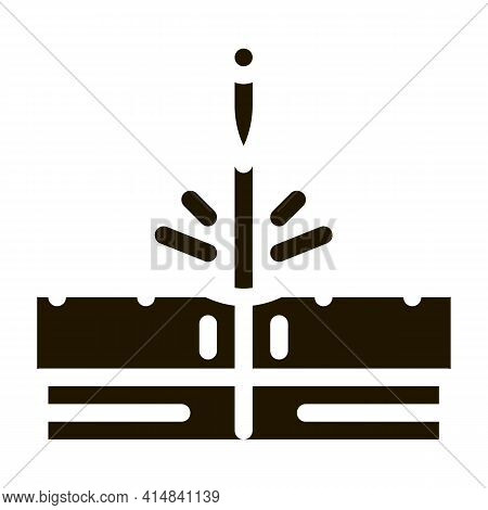 Sticking Needle Into Skin Glyph Icon Vector. Sticking Needle Into Skin Sign. Isolated Symbol Illustr