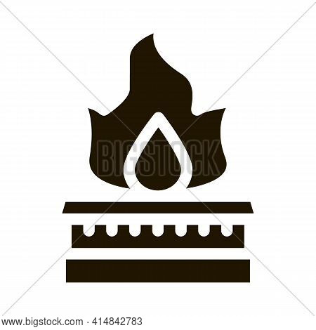 Gas In Kitchen Burner Glyph Icon Vector. Gas In Kitchen Burner Sign. Isolated Symbol Illustration