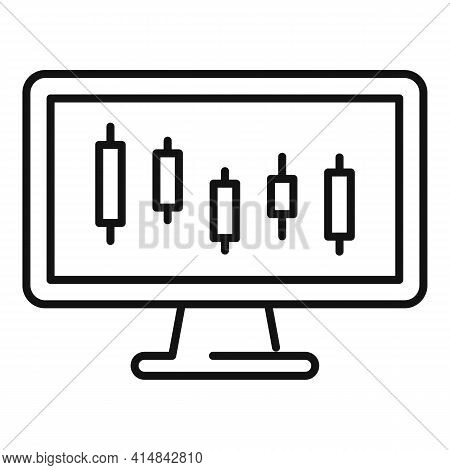 Trade Online Monitor Icon. Outline Trade Online Monitor Vector Icon For Web Design Isolated On White