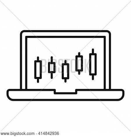 Laptop Trader Icon. Outline Laptop Trader Vector Icon For Web Design Isolated On White Background