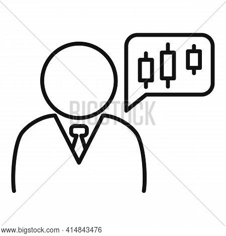 Trader Thinking Icon. Outline Trader Thinking Vector Icon For Web Design Isolated On White Backgroun