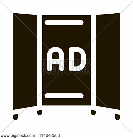 Advertising Booklet Glyph Icon Vector. Advertising Booklet Sign. Isolated Symbol Illustration