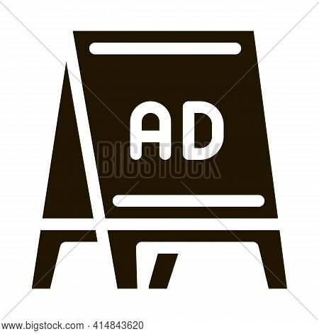 Folding Billboard Glyph Icon Vector. Folding Billboard Sign. Isolated Symbol Illustration