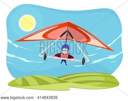 Hang Gliding Character Vector Illustration Isolated On White Background. Cheerful Hang Gliding Tande