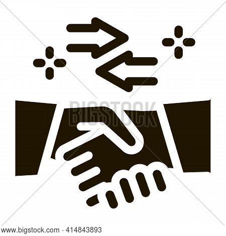 Handshake Exchange Agreement Glyph Icon Vector. Handshake Exchange Agreement Sign. Isolated Symbol I