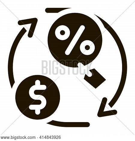 Cycle Of Money And Interest Glyph Icon Vector. Cycle Of Money And Interest Sign. Isolated Symbol Ill