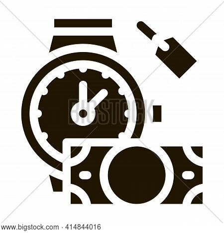 Hand Over Wristwatch For Money To Pawnshop Glyph Icon Vector. Hand Over Wristwatch For Money To Pawn