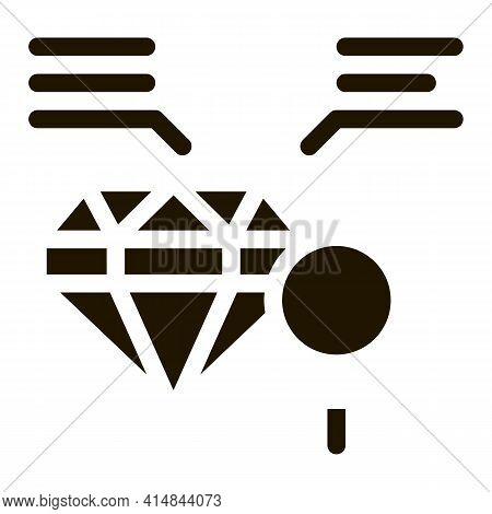 Inspection Study Diamond Stone Glyph Icon Vector. Inspection Study Diamond Stone Sign. Isolated Symb