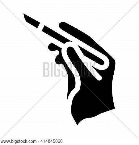 Surgeon Hand With Scalpel Glyph Icon Vector. Surgeon Hand With Scalpel Sign. Isolated Symbol Illustr