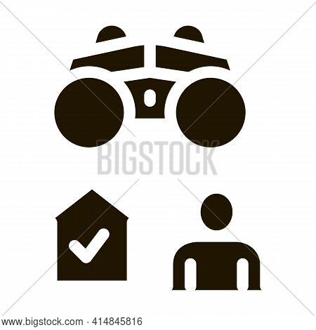 Home Surveillance Glyph Icon Vector. Home Surveillance Sign. Isolated Symbol Illustration