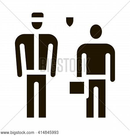 Man With Policeman Glyph Icon Vector. Man With Policeman Sign. Isolated Symbol Illustration