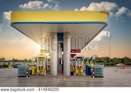 Gas Station And Car Service At Sunset, Business Entrepreneur Fuel Energy. Vehicle Gasoline Stations
