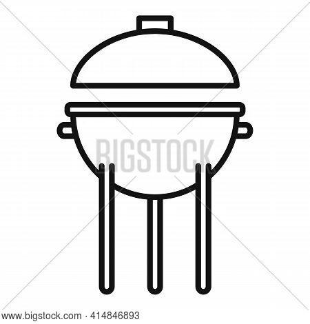Pork Brazier Icon. Outline Pork Brazier Vector Icon For Web Design Isolated On White Background