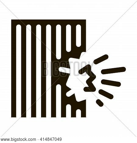 Blow House Collapse Glyph Icon Vector. Blow House Collapse Sign. Isolated Symbol Illustration