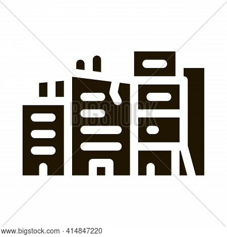 Destroyed High-rise Buildings Glyph Icon Vector. Destroyed High-rise Buildings Sign. Isolated Symbol