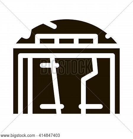 Destroyed Garage Glyph Icon Vector. Destroyed Garage Sign. Isolated Symbol Illustration