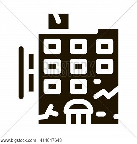Crack On Residential Building Glyph Icon Vector. Crack On Residential Building Sign. Isolated Symbol