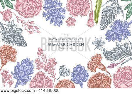 Floral Design With Pastel Peony, Carnation, Ranunculus, Wax Flower, Ornithogalum, Hyacinth Stock Ill