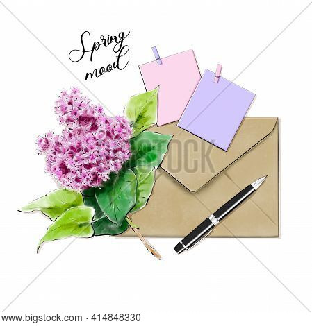 Beautiful Flat Lay Set With Lilac, Envelope, Pen, Stickers.